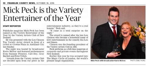 Press article of New Zealand magician Mick Peck named New Zealand Variety Entertainer of the Year by the Variety Artists Club of New Zealand Incorporated.